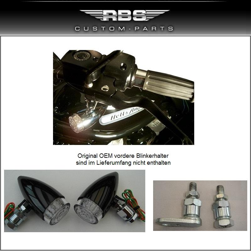 LED Bullet Style Blinkerset vordere Montage in Weißglas-Optik Hochglanz schwarz eloxiert