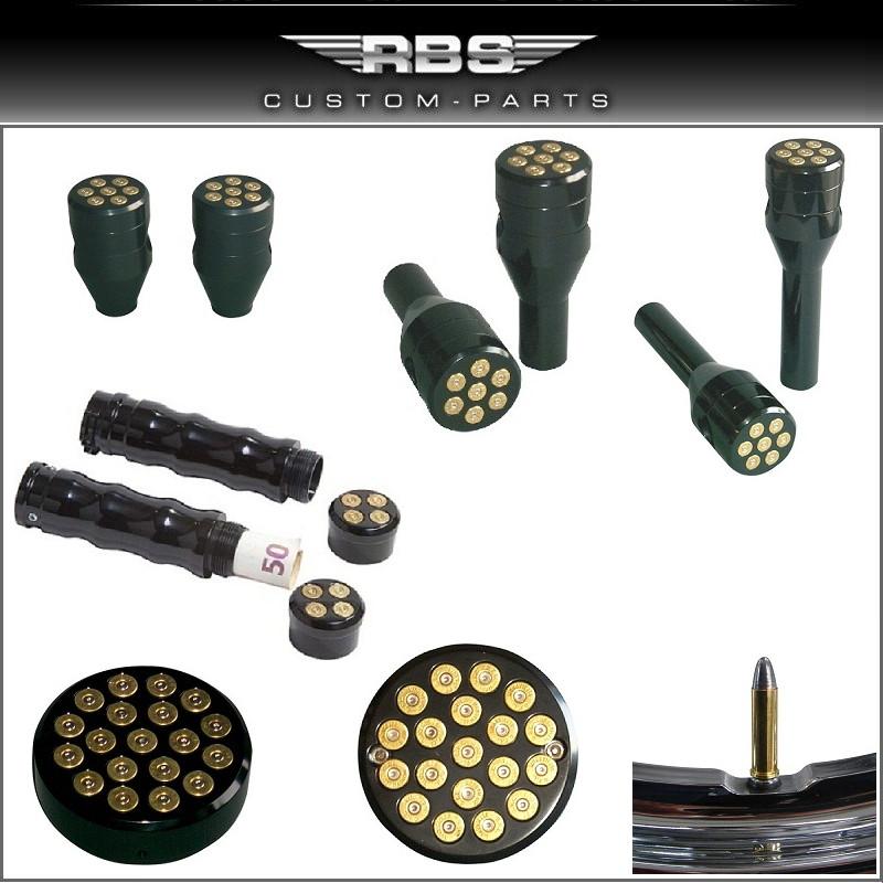 357 Magnum Bullet Style Tankdeckel Cover mit Tankuhr Anzeige hochglanz schwarz eloxiert