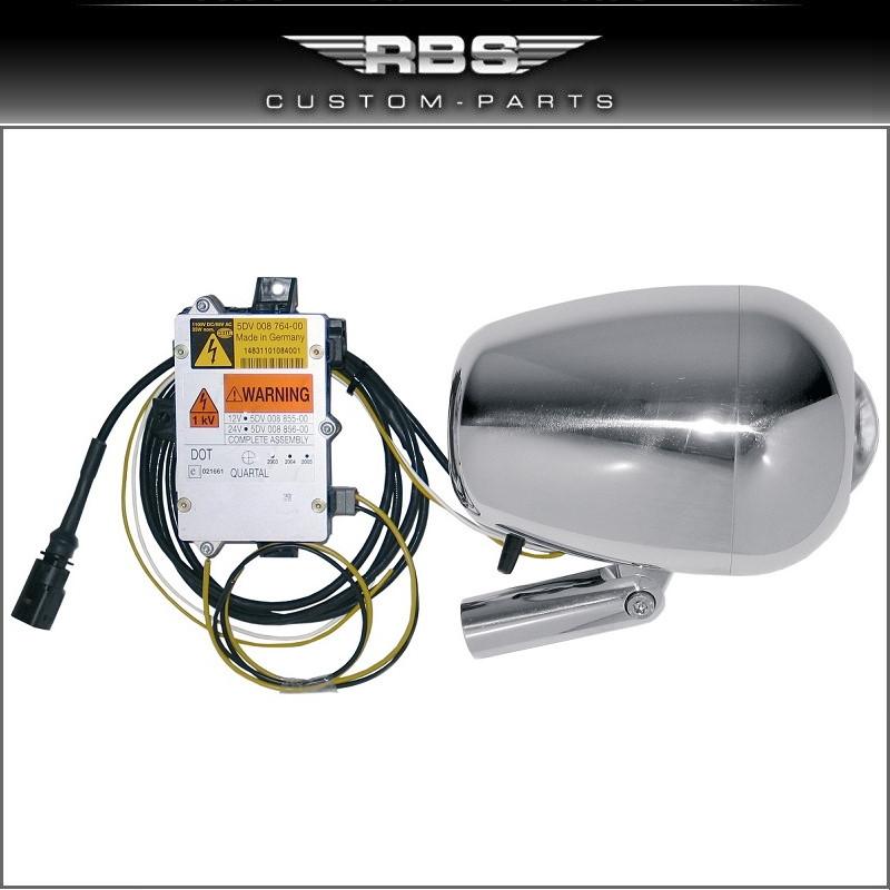V-Rod Xenon Ray 1 Scheinwerfer inkl. Scheinwerferhalter Hochglanz poliert