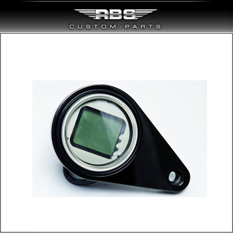 Mini Digital Tachoeinheit Hochglanz schwarz eloxiert