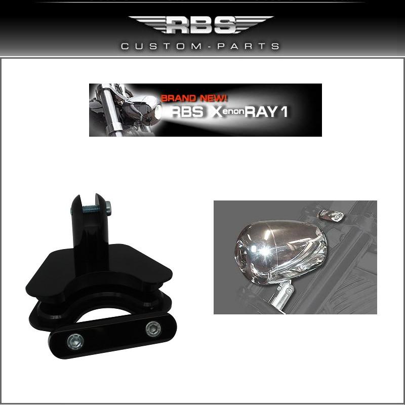 V-Rod universal Lampenhalter hochglanz schwarz eloxiert