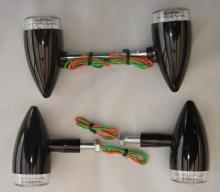 LED Bullet Style Blinkerset in Weißglas-Optik Hochglanz schwarz eloxiert