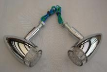 LED Bullet Style Blinkerset hintere Montage in Weißglas-Optik Hochglanz poliert