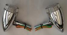 LED Bullet Style Blinkerset vordere Montage in Weißglas-Optik Hochglanz poliert