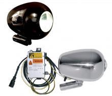 V-Rod Xenon Ray 1 Scheinwerfer inkl. Scheinwerferhalter Hochglanz schwarz eloxiert