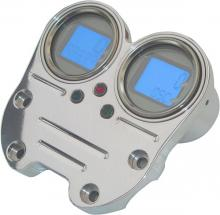Mini Digital Tacho und Drehzahlmesser mit Lenkerklemme hochglanz poliert