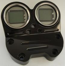 Mini Digital Tacho und Drehzahlmesser mit Lenkerklemme hochglanz schwarz eloxiert