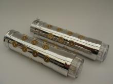 357 Magnum Bullet Style Gasgriffset mit LED Blinker poliert